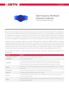 High Frequency Wristband Proximity Credential
