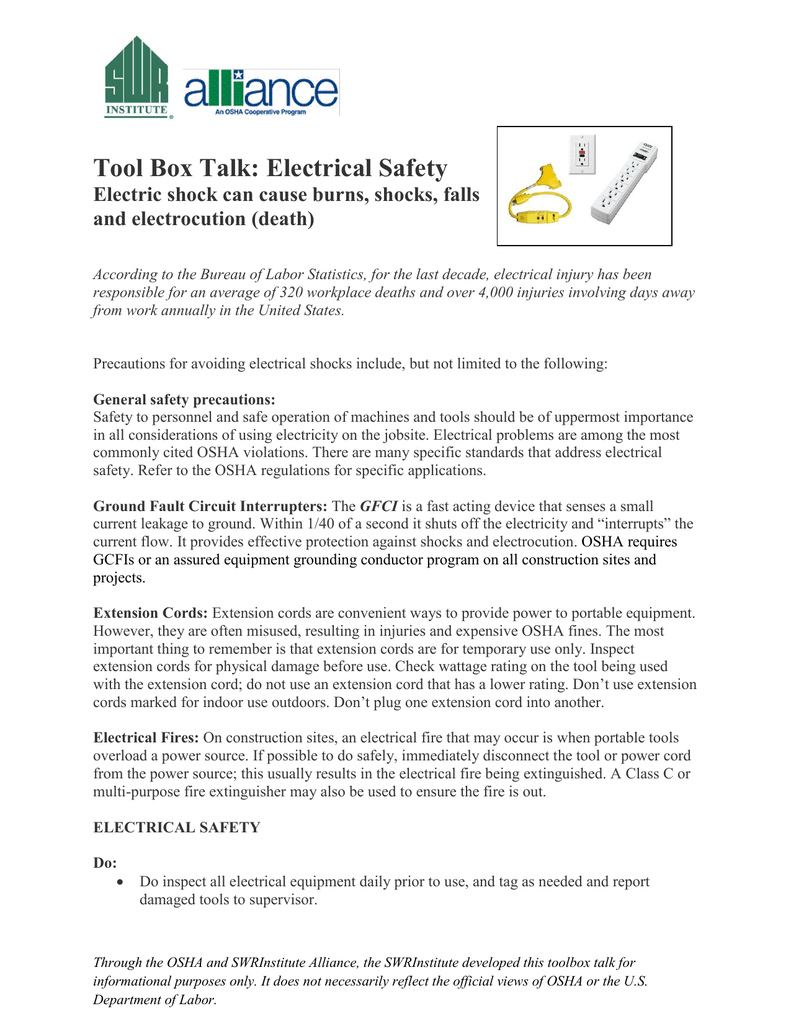 Tool box talk electrical safety publicscrutiny Choice Image