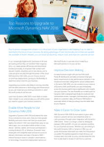 Top Reasons to Upgrade to NAV 2016