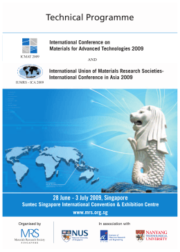 Technical Programme - Materials Research Society of Singapore