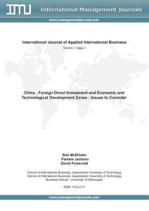 China, Foreign Direct Investment and Economic and Technological