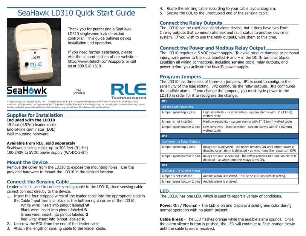 SeaHawk LD310 Quick Start Guide on