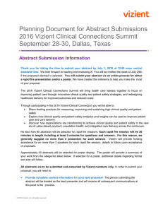 Planning Document for Abstract Submissions 2016 Vizient Clinical