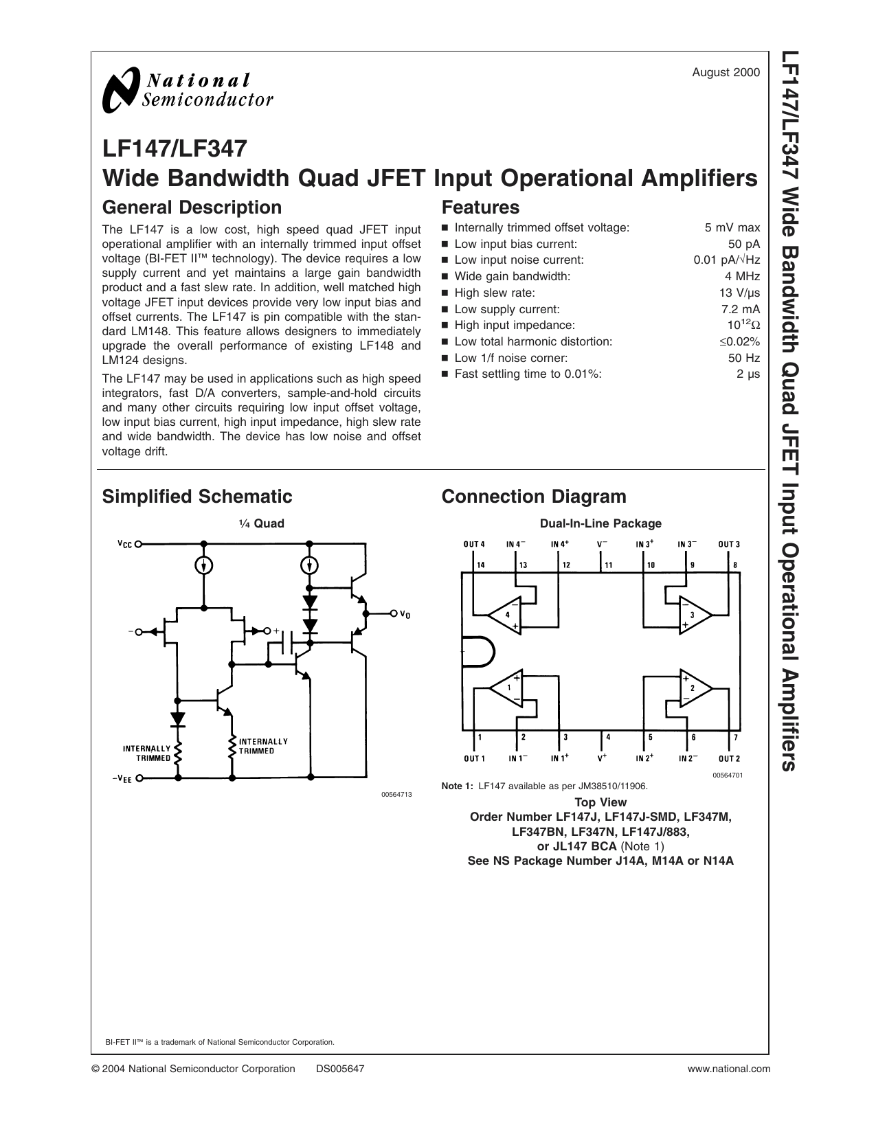 Lf147 Lf347 Wide Bandwidth Quad Jfet Input Operational Amplifiers Ac Coupled Integrator