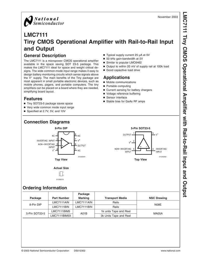 Lmc7111 Tiny Cmos Operational Amplifier With Rail To Output Differential