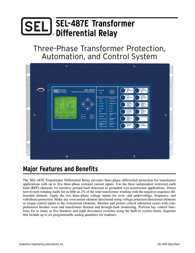 SEL-487E Transformer Differential Relay