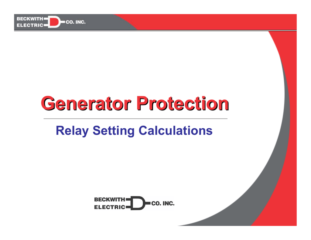 Generator Protection – Setting Calculations