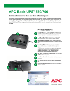 Back-UPS Pro 900 Installation and Operation