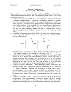 Physics 160 Practical Electronics Spring 2015 1 Homework