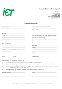 Account Application Form - Innovative Electronic Technology