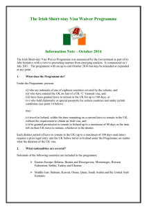 The Irish Short-stay Visa Waiver Programme