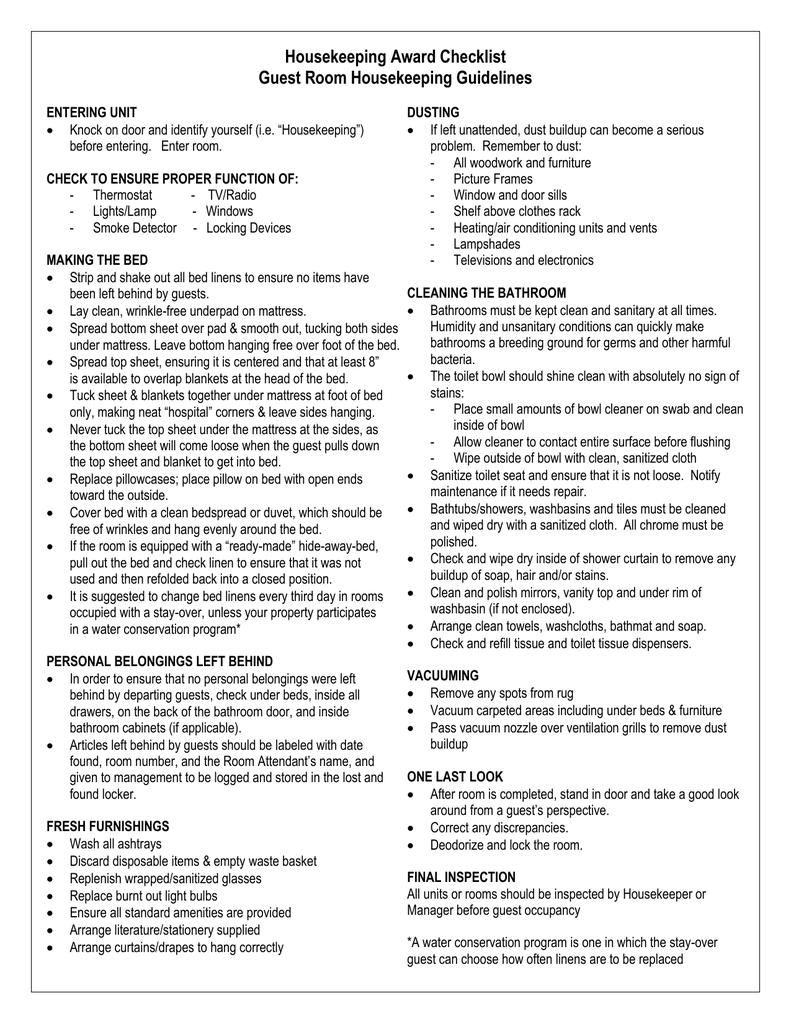 housekeeping room checklist