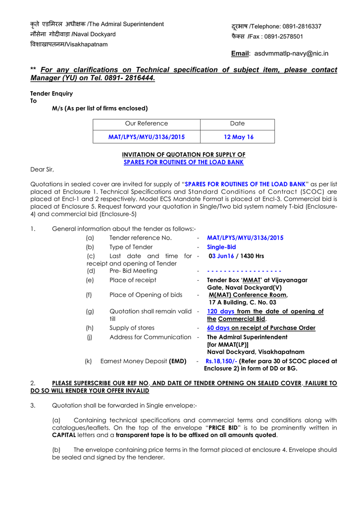 For Any Clarifications On Technical Specification Of Subject