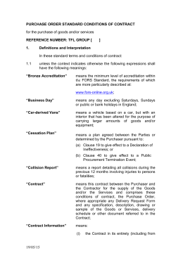 TfL Standard Purchase Order Terms and Conditions