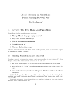 CS167: Reading in Algorithms Paper