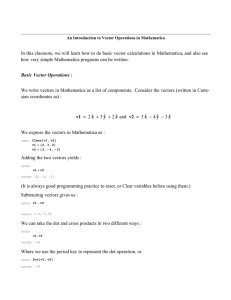 Basic Vector Operations in Mathematica
