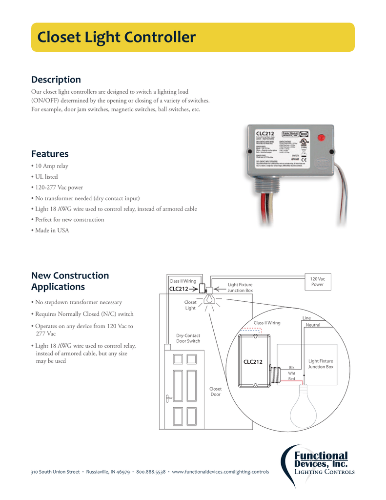 [DIAGRAM_38IU]  Closet Light Controller | Light Controller Wiring Diagram |  | Studylib