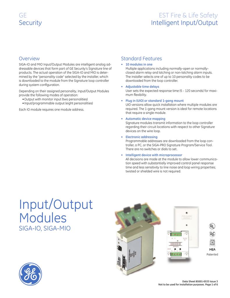 Data Sheet 85001-0533 -- Input