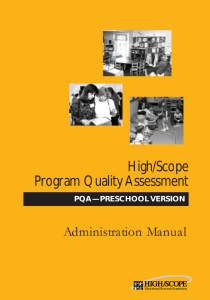 High/Scope Program Quality Assessment