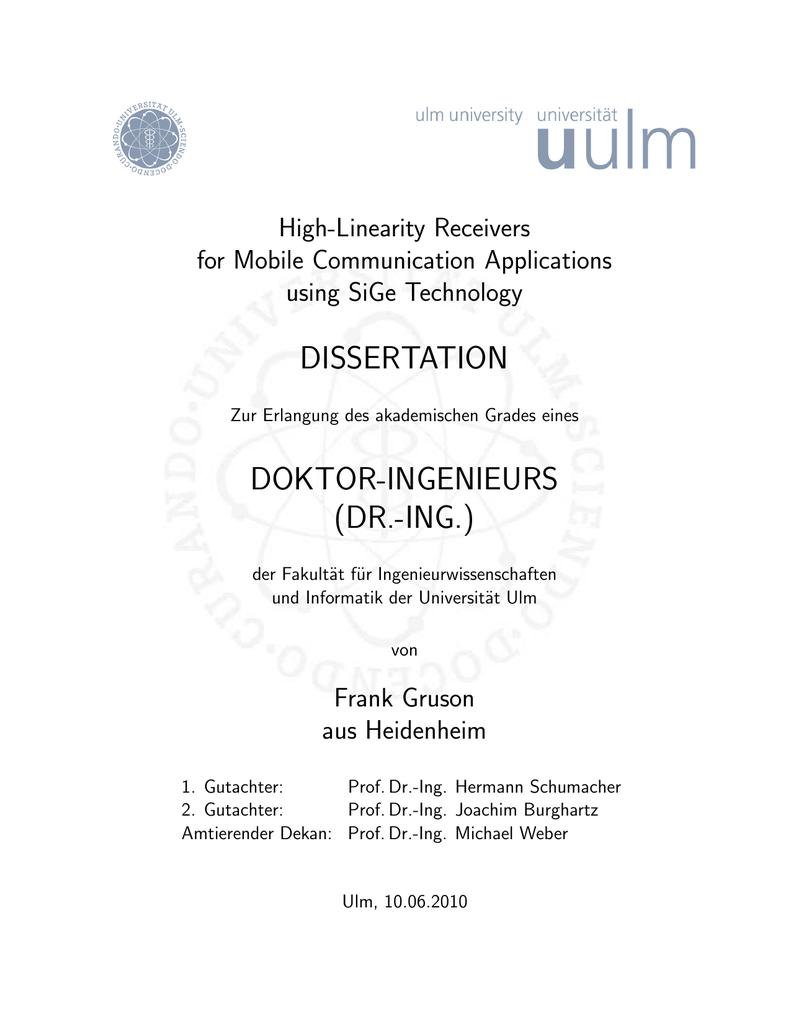 expose dissertation ingenieurwissenschaften