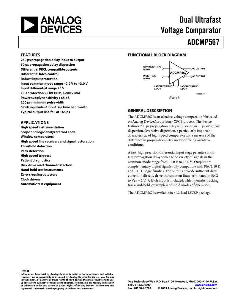 Adcmp567 Dual Ultrafast Voltage Comparator Data Sheet Rev 0 Inverting With Hysteresis