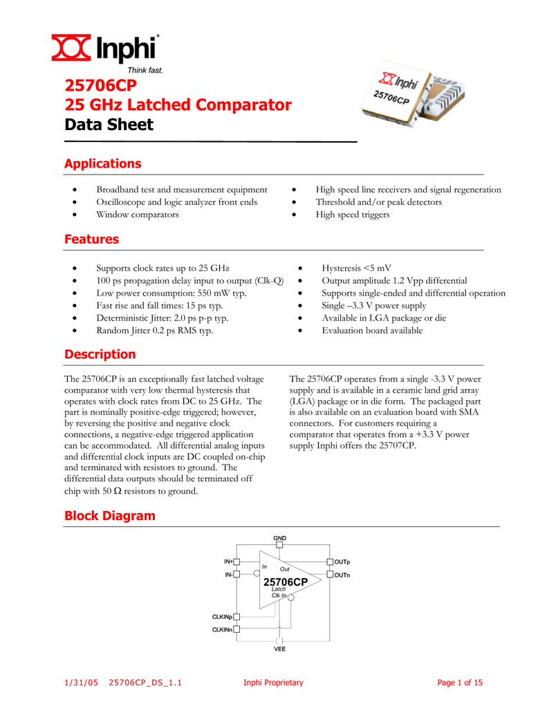25706cp Datasheet Comparator Block Diagram