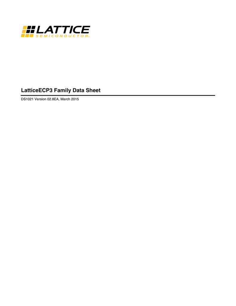 LatticeECP3 Family Data Sheet