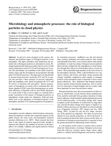Microbiology and atmospheric processes: the role