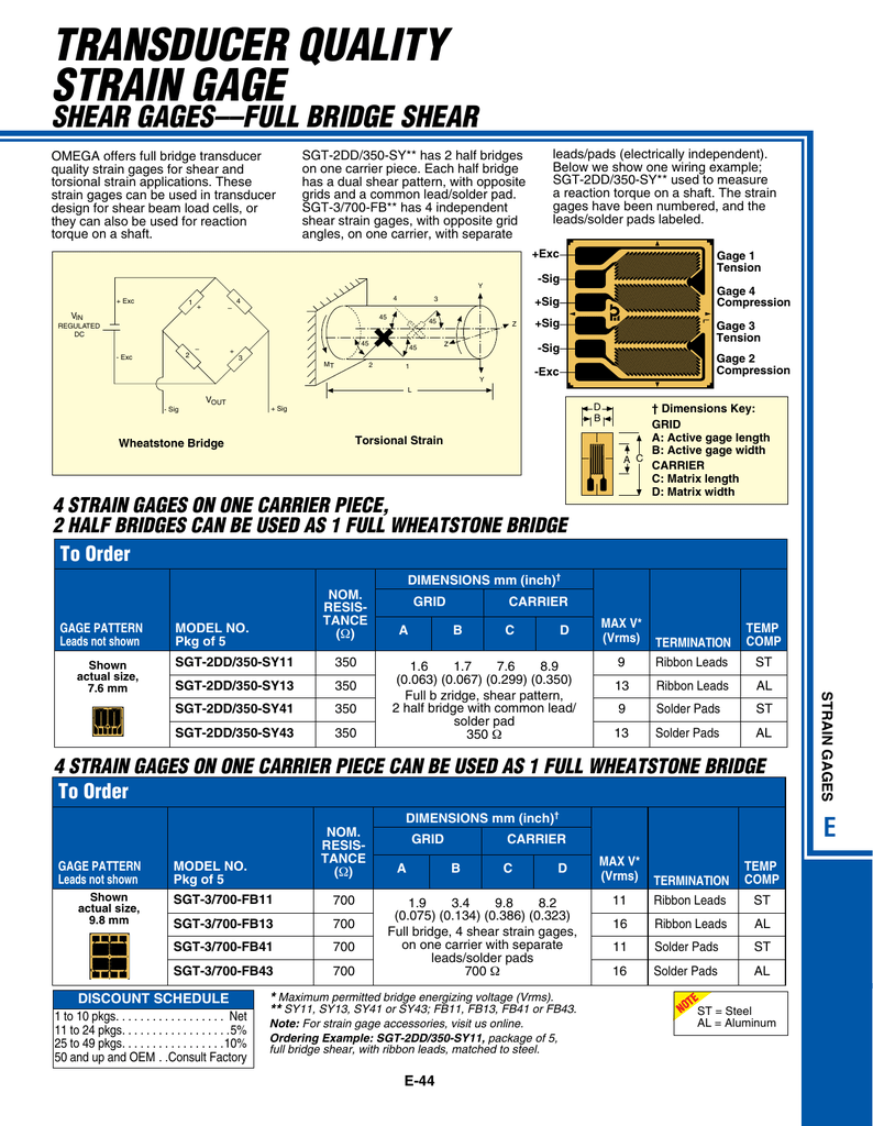 Specs Strain Gauge Wiring