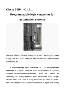 Classe 5 BM - C.L.I.L. Programmable logic controller for automation