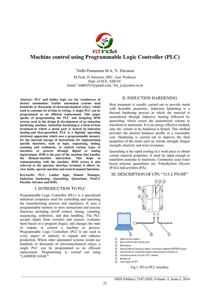 Machine control using Programmable Logic Controller