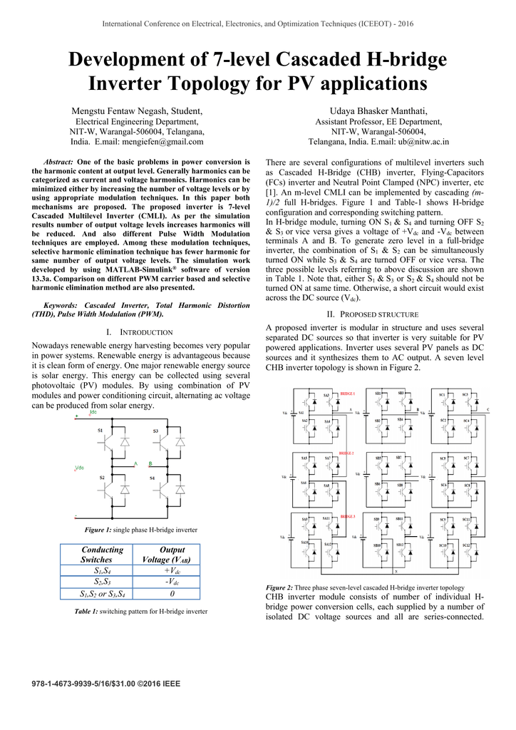 Development of 7-level Cascaded H-bridge Inverter
