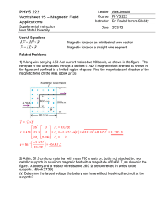 PHYS 222 Worksheet 15 Magnetic Field Applications ANSWERS