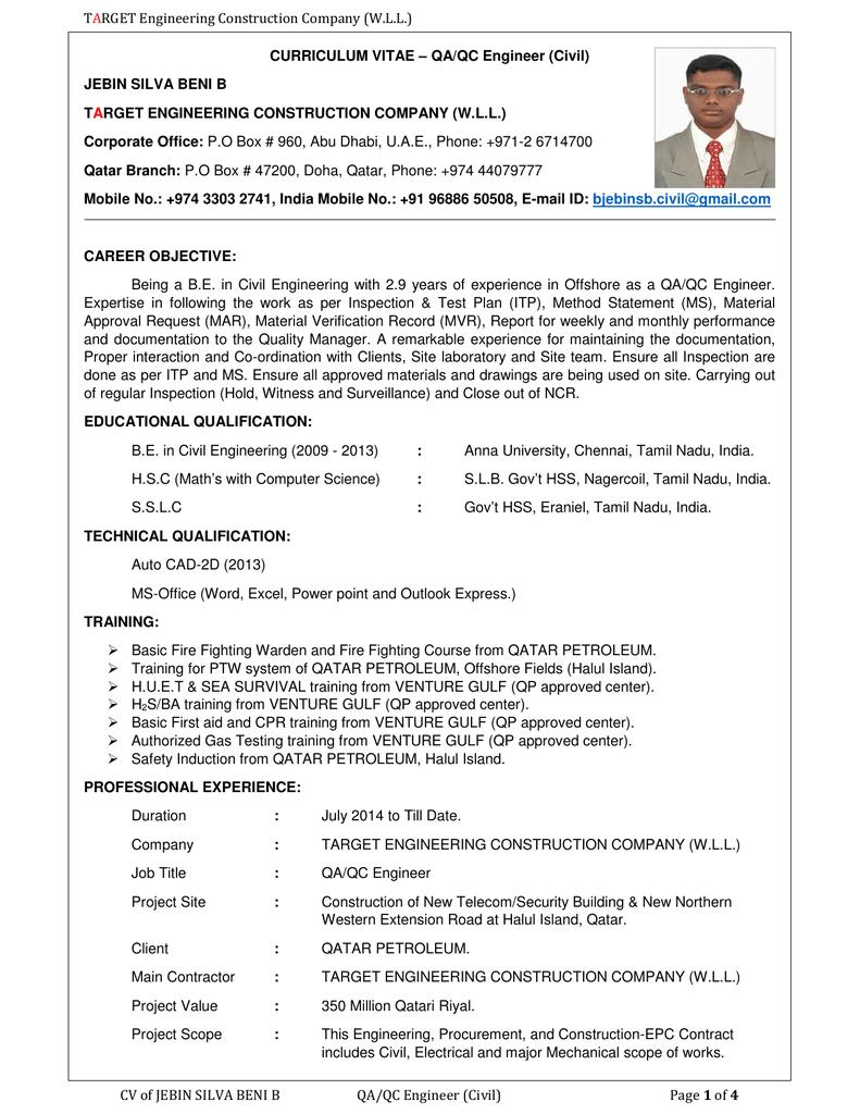 CV of JEBIN SILVA BENI B QA/QC Engineer (Civil)