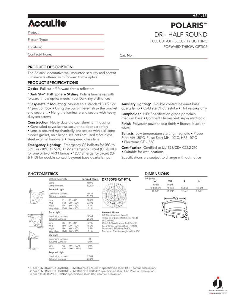 Spec Sheet Juno Lighting Group