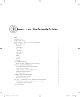 1 Research and the Research Problem