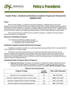 Standards of Satisfactory Academic Progress for Financial Aid