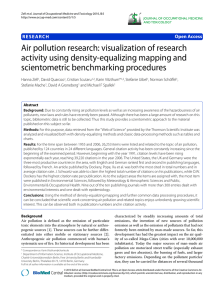 Air pollution research: visualization of research activity using density