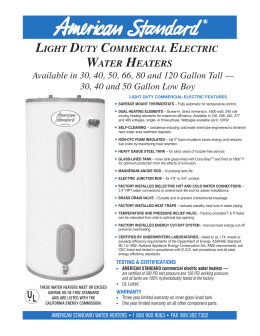 light duty commercial electric water heaters