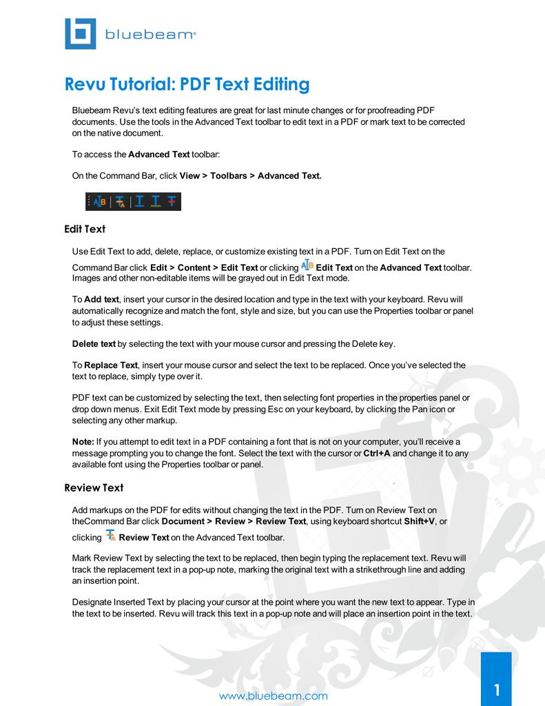 Revu Tutorial: PDF Text Editing