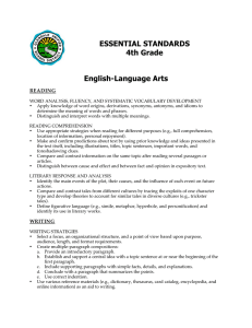 ESSENTIAL STANDARDS 4th Grade English