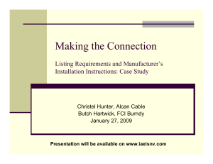 Listing Requirements and Manufacturer`s Installation Instructions