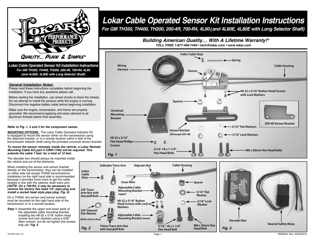 Lokar Cable Operated Sensor Kit Installation Instructions For Gm Th400 Trans Wiring Diagram