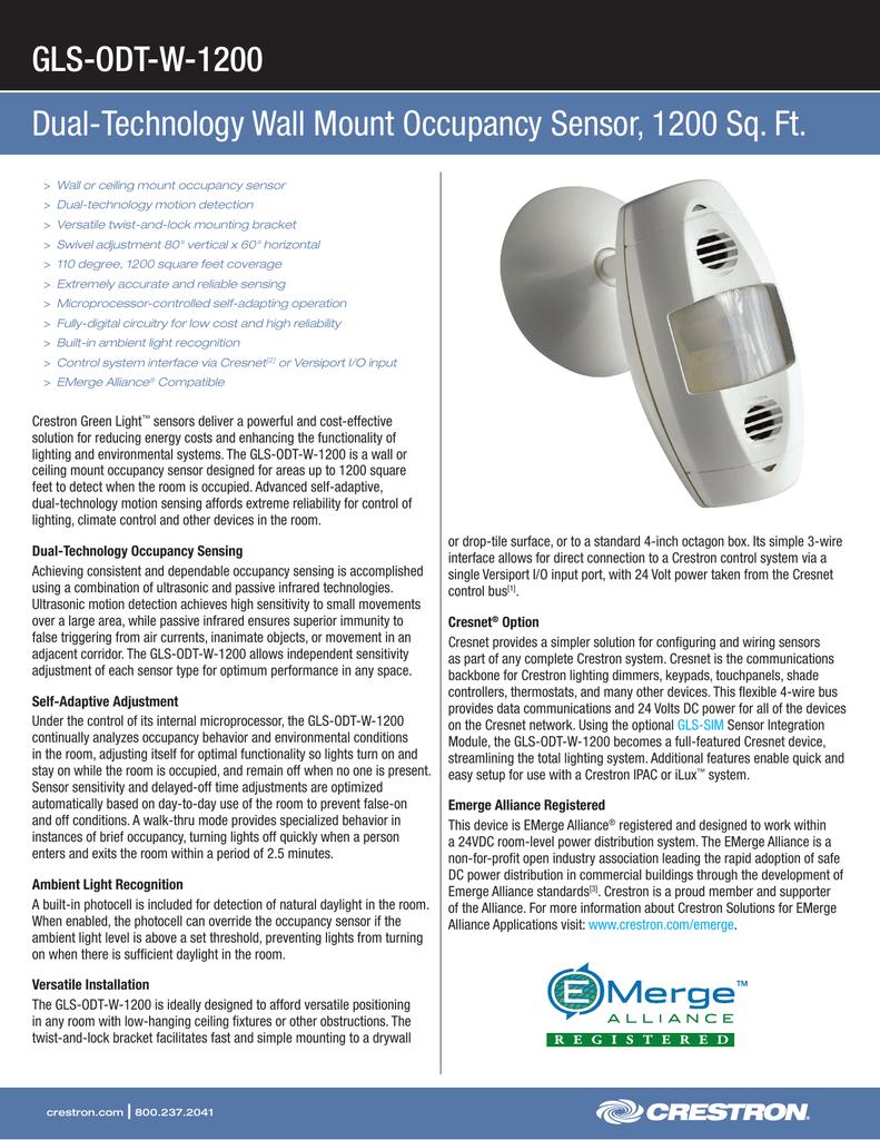 Crestron Occupancy Sensor Wiring Diagrams Override Light Diagram Product Specifications Gls Odt W 1200 Rh Studylib Net Switch 3 Way