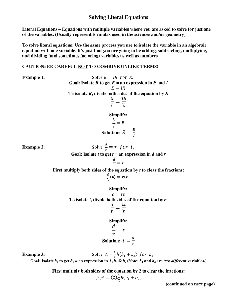 Practice Solving Literal Equations
