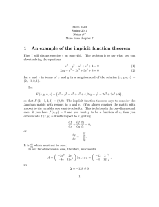 1 An example of the implicit function theorem