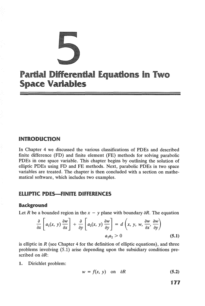 Partial Differential Equations in Two Space Variables