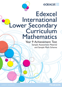 Year 9 Achievement Test - Mathematics - Edexcel