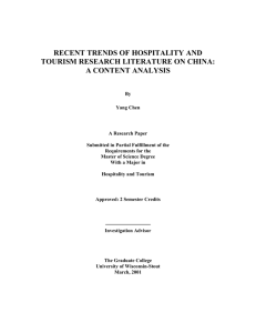 Trends of Hospitality and Tourism Research Literature - UW