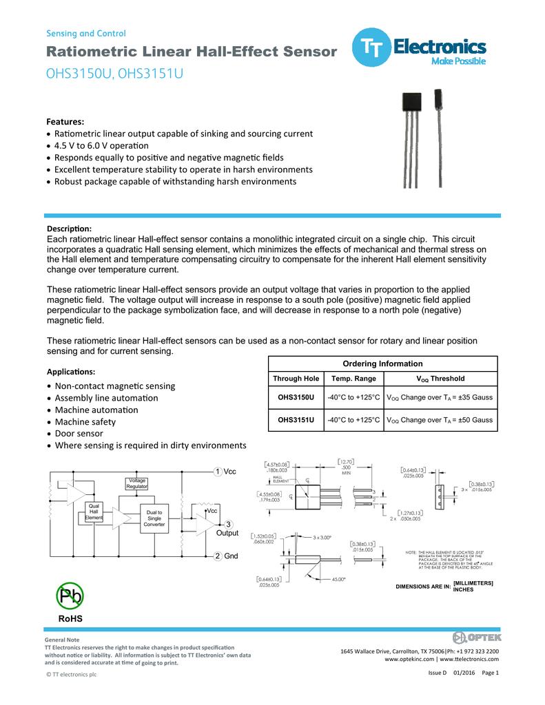 Ratiometric Linear Hall Effect Sensor Ohs3150u Ohs3151u Circuits
